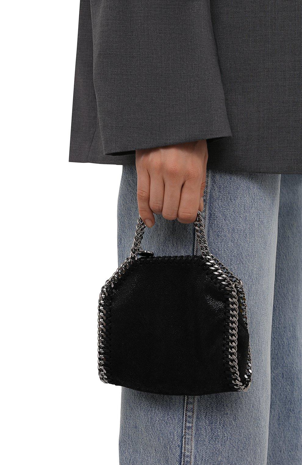 Женская сумка falabella STELLA MCCARTNEY черного цвета, арт. 700227/W9132   Фото 2 (Ремень/цепочка: С цепочкой; Сумки-технические: Сумки top-handle; Размер: mini; Материал: Текстиль)
