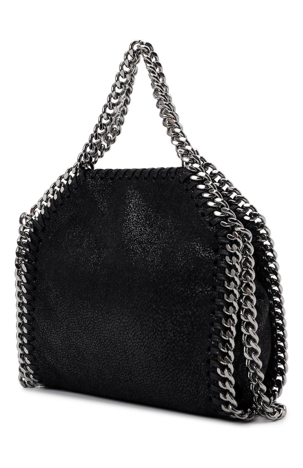 Женская сумка falabella STELLA MCCARTNEY черного цвета, арт. 700227/W9132   Фото 3 (Ремень/цепочка: С цепочкой; Сумки-технические: Сумки top-handle; Размер: mini; Материал: Текстиль)
