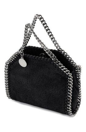 Женская сумка falabella STELLA MCCARTNEY черного цвета, арт. 700227/W9132   Фото 4 (Ремень/цепочка: С цепочкой; Сумки-технические: Сумки top-handle; Размер: mini; Материал: Текстиль)