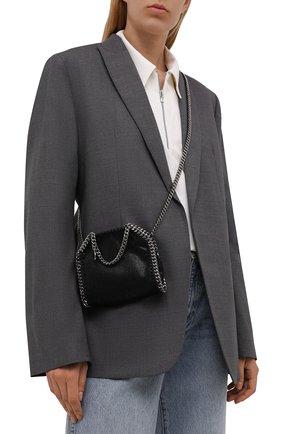 Женская сумка falabella STELLA MCCARTNEY черного цвета, арт. 700227/W9132   Фото 5 (Ремень/цепочка: С цепочкой; Сумки-технические: Сумки top-handle; Размер: mini; Материал: Текстиль)