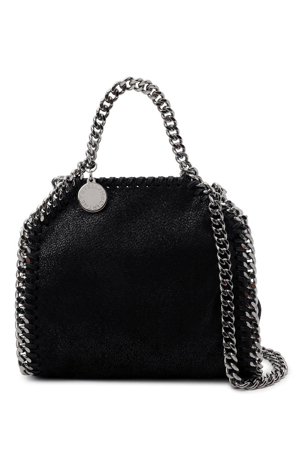 Женская сумка falabella STELLA MCCARTNEY черного цвета, арт. 700227/W9132   Фото 6 (Ремень/цепочка: С цепочкой; Сумки-технические: Сумки top-handle; Размер: mini; Материал: Текстиль)