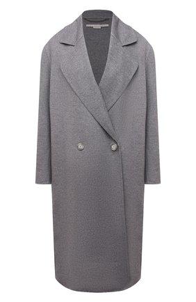 Женское шерстяное пальто STELLA MCCARTNEY светло-серого цвета, арт. 602900/SPB05 | Фото 1 (Материал внешний: Шерсть; Стили: Кэжуэл; 1-2-бортные: Двубортные; Длина (верхняя одежда): До колена, Длинные; Рукава: Длинные)