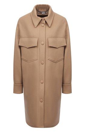 Женское шерстяное пальто STELLA MCCARTNEY бежевого цвета, арт. 601217/SPB11 | Фото 1 (Материал внешний: Шерсть; Стили: Кэжуэл; 1-2-бортные: Однобортные; Длина (верхняя одежда): До середины бедра, До колена; Рукава: Длинные)