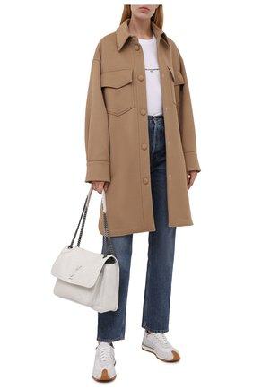Женское шерстяное пальто STELLA MCCARTNEY бежевого цвета, арт. 601217/SPB11 | Фото 2 (Материал внешний: Шерсть; Стили: Кэжуэл; 1-2-бортные: Однобортные; Длина (верхняя одежда): До середины бедра, До колена; Рукава: Длинные)