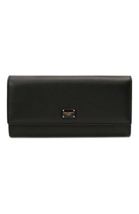 Женские кожаный кошелек DOLCE & GABBANA черного цвета, арт. BI0087/A0049 | Фото 1