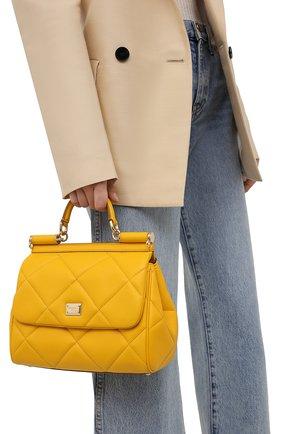Женская сумка sicily medium DOLCE & GABBANA желтого цвета, арт. BB6002/AW591   Фото 2