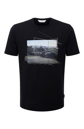 Мужская хлопковая футболка  Z ZEGNA темно-синего цвета, арт. VY367/ZZ630G | Фото 1
