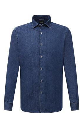 Мужская джинсовая рубашка ERMENEGILDO ZEGNA синего цвета, арт. UYX11/SRF5 | Фото 1 (Материал внешний: Хлопок; Случай: Повседневный; Принт: Однотонные; Кросс-КТ: Деним; Воротник: Акула; Рукава: Длинные; Стили: Кэжуэл; Манжеты: На пуговицах; Длина (для топов): Стандартные)