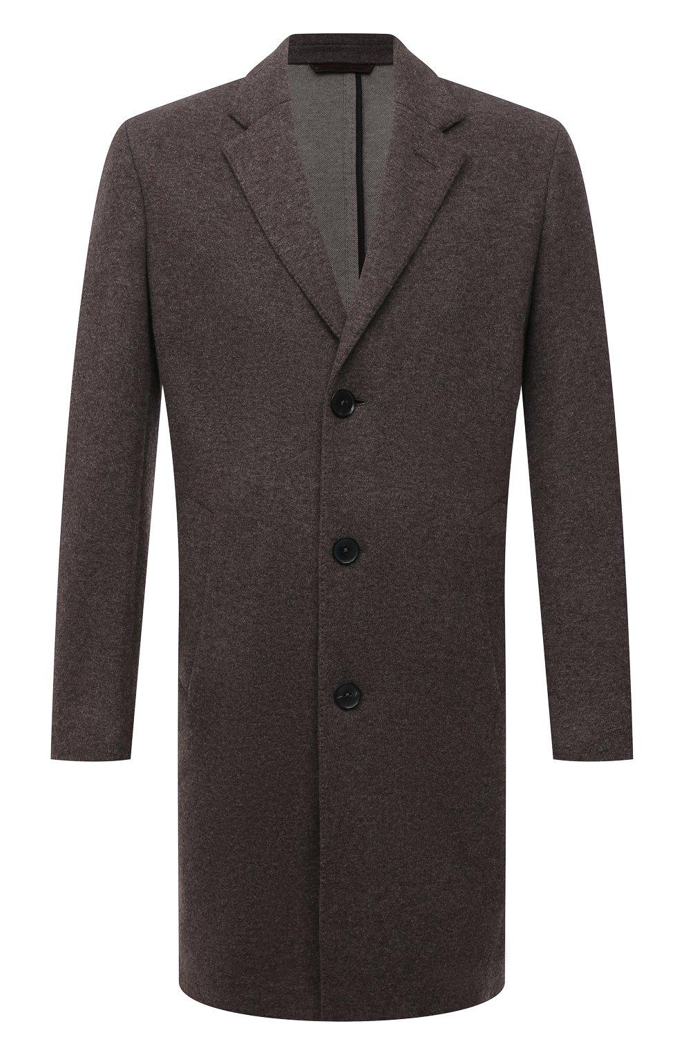 Мужской кашемировое пальто ERMENEGILDO ZEGNA коричневого цвета, арт. 277014/4DB5S0   Фото 1 (Материал внешний: Шерсть, Кашемир; Рукава: Длинные; Длина (верхняя одежда): До середины бедра; Стили: Классический; Мужское Кросс-КТ: пальто-верхняя одежда)