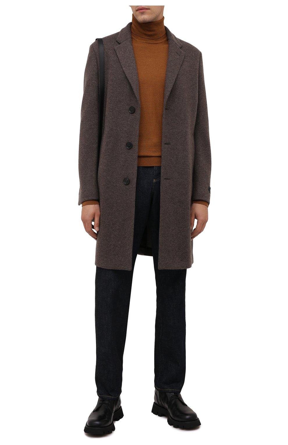 Мужской кашемировое пальто ERMENEGILDO ZEGNA коричневого цвета, арт. 277014/4DB5S0   Фото 2 (Материал внешний: Шерсть, Кашемир; Рукава: Длинные; Длина (верхняя одежда): До середины бедра; Стили: Классический; Мужское Кросс-КТ: пальто-верхняя одежда)