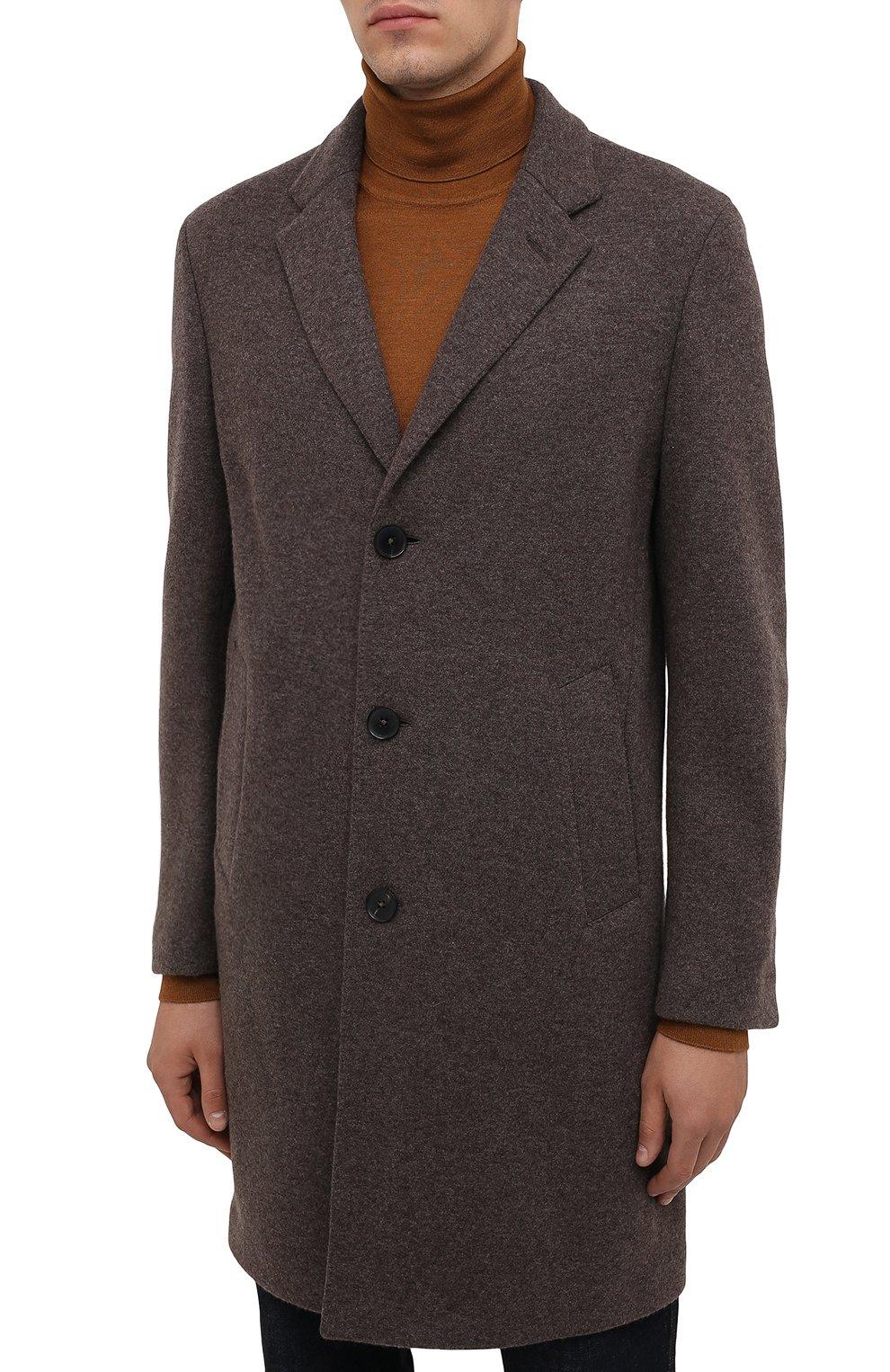 Мужской кашемировое пальто ERMENEGILDO ZEGNA коричневого цвета, арт. 277014/4DB5S0   Фото 3 (Материал внешний: Шерсть, Кашемир; Рукава: Длинные; Длина (верхняя одежда): До середины бедра; Стили: Классический; Мужское Кросс-КТ: пальто-верхняя одежда)
