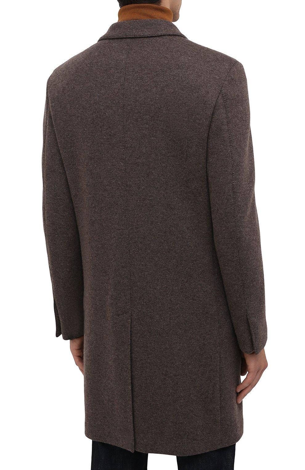 Мужской кашемировое пальто ERMENEGILDO ZEGNA коричневого цвета, арт. 277014/4DB5S0   Фото 4 (Материал внешний: Шерсть, Кашемир; Рукава: Длинные; Длина (верхняя одежда): До середины бедра; Стили: Классический; Мужское Кросс-КТ: пальто-верхняя одежда)