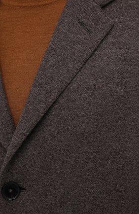 Мужской кашемировое пальто ERMENEGILDO ZEGNA коричневого цвета, арт. 277014/4DB5S0   Фото 5 (Материал внешний: Шерсть, Кашемир; Рукава: Длинные; Длина (верхняя одежда): До середины бедра; Стили: Классический; Мужское Кросс-КТ: пальто-верхняя одежда)