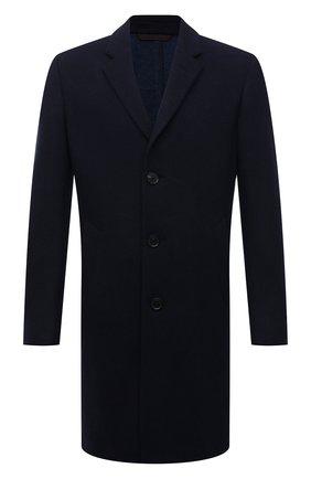 Мужской кашемировое пальто ERMENEGILDO ZEGNA темно-синего цвета, арт. 277011/4DB5S0 | Фото 1 (Материал внешний: Кашемир, Шерсть; Стили: Классический; Длина (верхняя одежда): До середины бедра; Рукава: Длинные; Мужское Кросс-КТ: пальто-верхняя одежда)