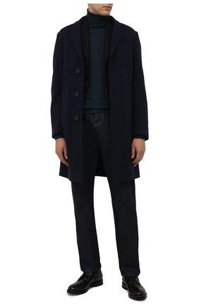 Мужской кашемировое пальто ERMENEGILDO ZEGNA темно-синего цвета, арт. 277011/4DB5S0 | Фото 2 (Материал внешний: Кашемир, Шерсть; Стили: Классический; Длина (верхняя одежда): До середины бедра; Рукава: Длинные; Мужское Кросс-КТ: пальто-верхняя одежда)
