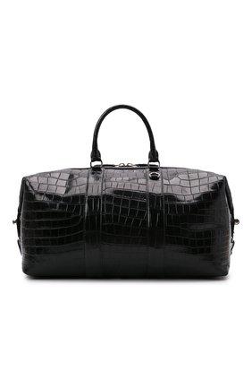 Мужская дорожная сумка из кожи крокодила RALPH LAUREN черного цвета, арт. 437854334/CP0R   Фото 1