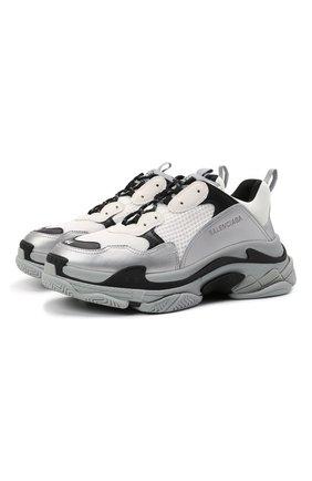 Мужские комбинированные кроссовки triple s BALENCIAGA светло-серого цвета, арт. 536737/W2FS5 | Фото 1