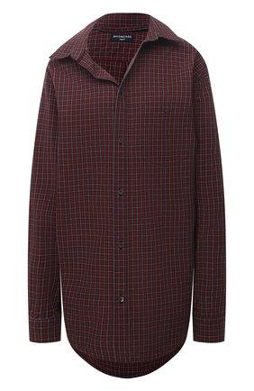 Женская хлопковая рубашка BALENCIAGA темно-бордового цвета, арт. 662977/TKM36 | Фото 1