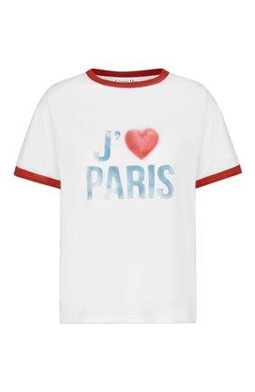 Женская хлопковая футболка DIOR белого цвета, арт. 143T12B4477X0803 | Фото 1 (Стили: Спорт-шик; Материал внешний: Хлопок; Рукава: Короткие; Длина (для топов): Стандартные; Принт: С принтом; Женское Кросс-КТ: Футболка-одежда)