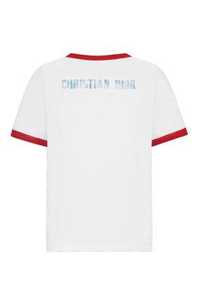Женская хлопковая футболка DIOR белого цвета, арт. 143T12B4477X0803 | Фото 2 (Стили: Спорт-шик; Материал внешний: Хлопок; Рукава: Короткие; Длина (для топов): Стандартные; Принт: С принтом; Женское Кросс-КТ: Футболка-одежда)