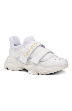 Женские кожаные кроссовки d-wander DIOR белого цвета, арт. KCK311VEAS10W | Фото 2 (Подошва: Массивная)