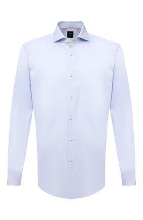 Мужская хлопковая сорочка BOSS голубого цвета, арт. 50460274 | Фото 1 (Материал внешний: Хлопок; Случай: Формальный; Принт: Однотонные; Воротник: Акула; Манжеты: На пуговицах; Рукава: Длинные; Рубашки М: Regular Fit; Стили: Классический; Длина (для топов): Стандартные)