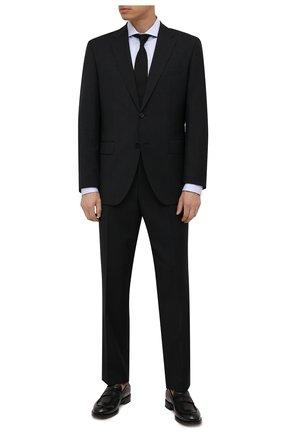 Мужская хлопковая сорочка BOSS голубого цвета, арт. 50460274 | Фото 2 (Материал внешний: Хлопок; Случай: Формальный; Принт: Однотонные; Воротник: Акула; Манжеты: На пуговицах; Рукава: Длинные; Рубашки М: Regular Fit; Стили: Классический; Длина (для топов): Стандартные)