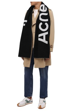 Мужской шерстяной шарф ACNE STUDIOS черно-белого цвета, арт. CA0154/M | Фото 2