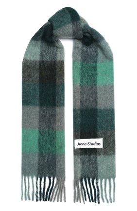 Мужской шарф ACNE STUDIOS зеленого цвета, арт. CA0084/M   Фото 1 (Материал: Шерсть; Кросс-КТ: шерсть)