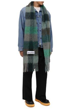 Мужской шарф ACNE STUDIOS зеленого цвета, арт. CA0084/M   Фото 2 (Материал: Шерсть; Кросс-КТ: шерсть)