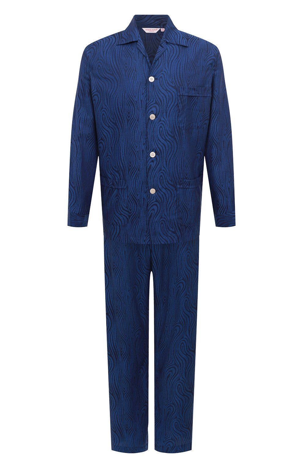 Мужская хлопковая пижама DEREK ROSE темно-синего цвета, арт. 5000-PARI020   Фото 1 (Рукава: Длинные; Длина (брюки, джинсы): Стандартные; Кросс-КТ: домашняя одежда; Длина (для топов): Стандартные; Материал внешний: Хлопок)