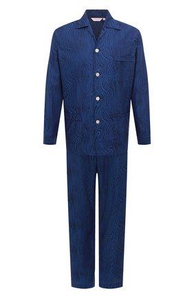 Мужская хлопковая пижама DEREK ROSE темно-синего цвета, арт. 5000-PARI020 | Фото 1