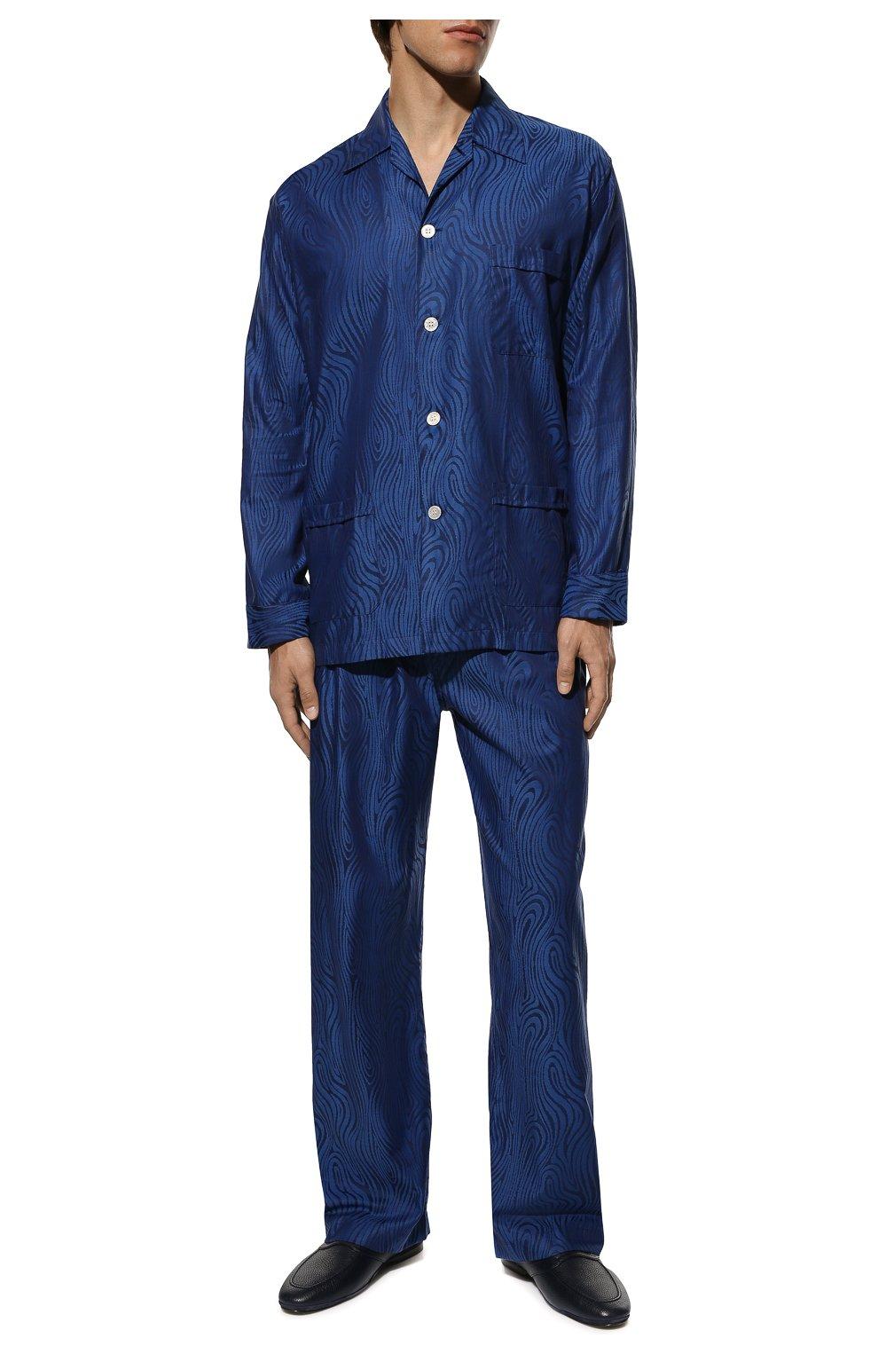 Мужская хлопковая пижама DEREK ROSE темно-синего цвета, арт. 5000-PARI020   Фото 2 (Рукава: Длинные; Длина (брюки, джинсы): Стандартные; Кросс-КТ: домашняя одежда; Длина (для топов): Стандартные; Материал внешний: Хлопок)