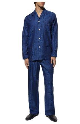 Мужская хлопковая пижама DEREK ROSE темно-синего цвета, арт. 5000-PARI020 | Фото 2