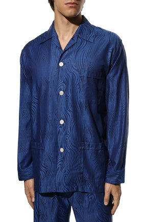 Мужская хлопковая пижама DEREK ROSE темно-синего цвета, арт. 5000-PARI020   Фото 3 (Рукава: Длинные; Длина (брюки, джинсы): Стандартные; Кросс-КТ: домашняя одежда; Длина (для топов): Стандартные; Материал внешний: Хлопок)