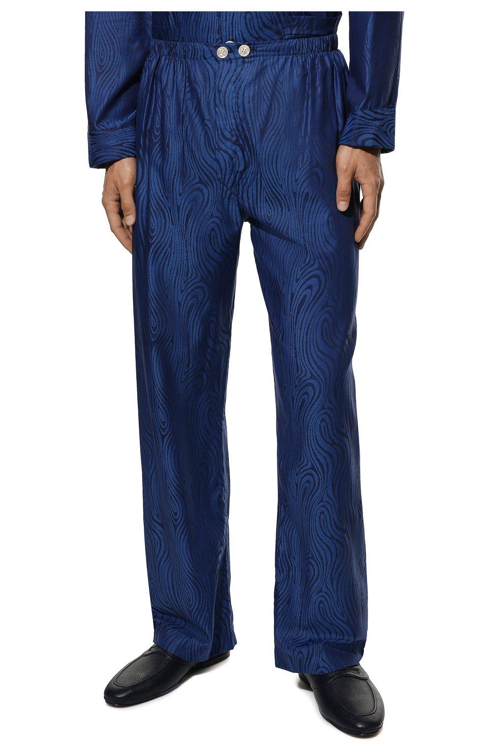 Мужская хлопковая пижама DEREK ROSE темно-синего цвета, арт. 5000-PARI020   Фото 5 (Рукава: Длинные; Длина (брюки, джинсы): Стандартные; Кросс-КТ: домашняя одежда; Длина (для топов): Стандартные; Материал внешний: Хлопок)