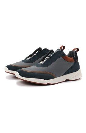 Мужские комбинированные кроссовки modular walk LORO PIANA темно-синего цвета, арт. FAL7950   Фото 1