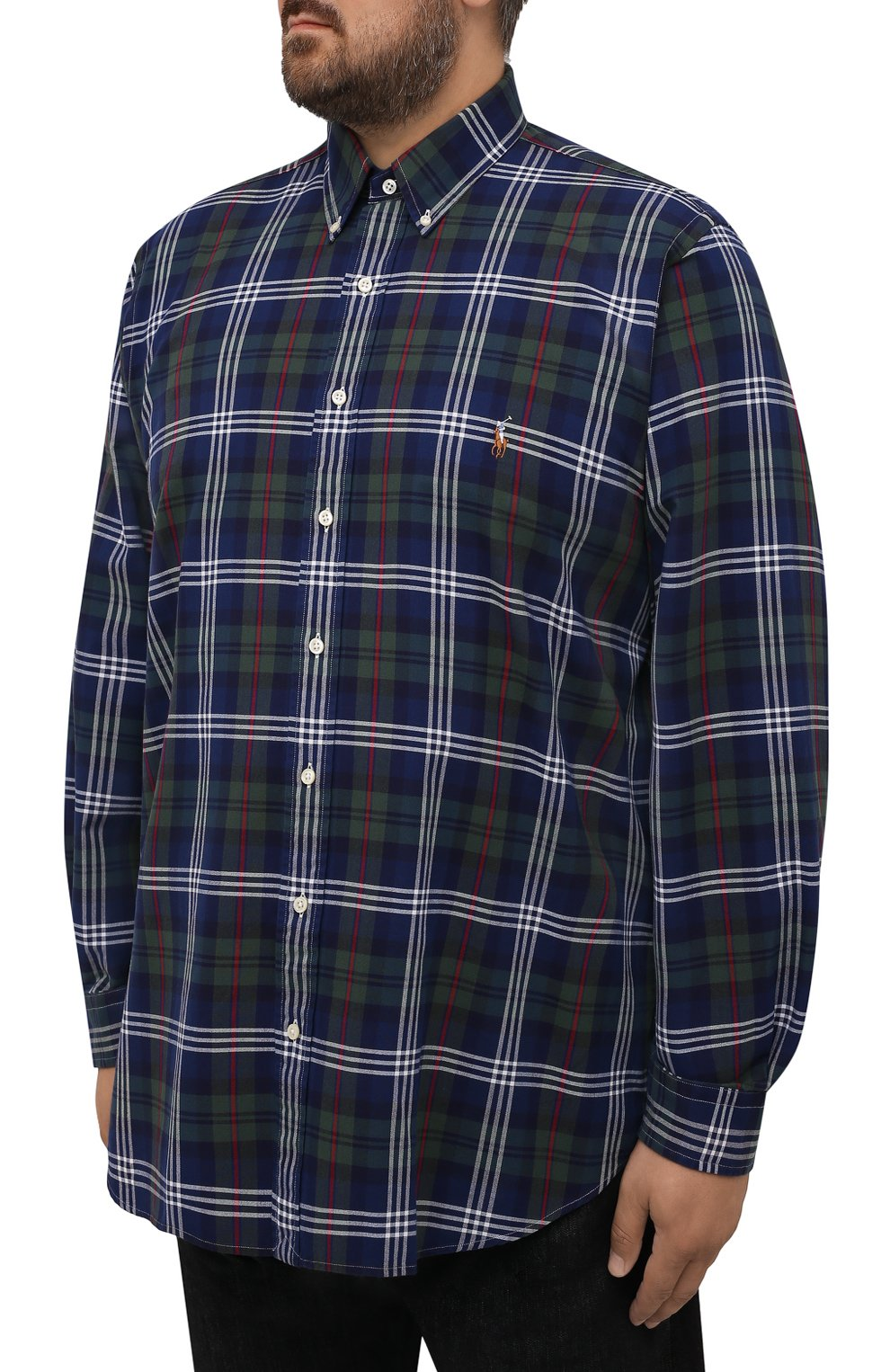 Мужская хлопковая рубашка POLO RALPH LAUREN разноцветного цвета, арт. 711847237/4127/PRL BS   Фото 3 (Манжеты: На пуговицах; Воротник: Button down; Big sizes: Big Sizes; Принт: Клетка; Рукава: Длинные; Случай: Повседневный; Длина (для топов): Удлиненные; Материал внешний: Хлопок; Стили: Кэжуэл)