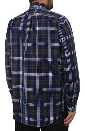 Мужская хлопковая рубашка POLO RALPH LAUREN разноцветного цвета, арт. 711847237/4127/PRL BS   Фото 4 (Манжеты: На пуговицах; Воротник: Button down; Big sizes: Big Sizes; Принт: Клетка; Рукава: Длинные; Случай: Повседневный; Длина (для топов): Удлиненные; Материал внешний: Хлопок; Стили: Кэжуэл)