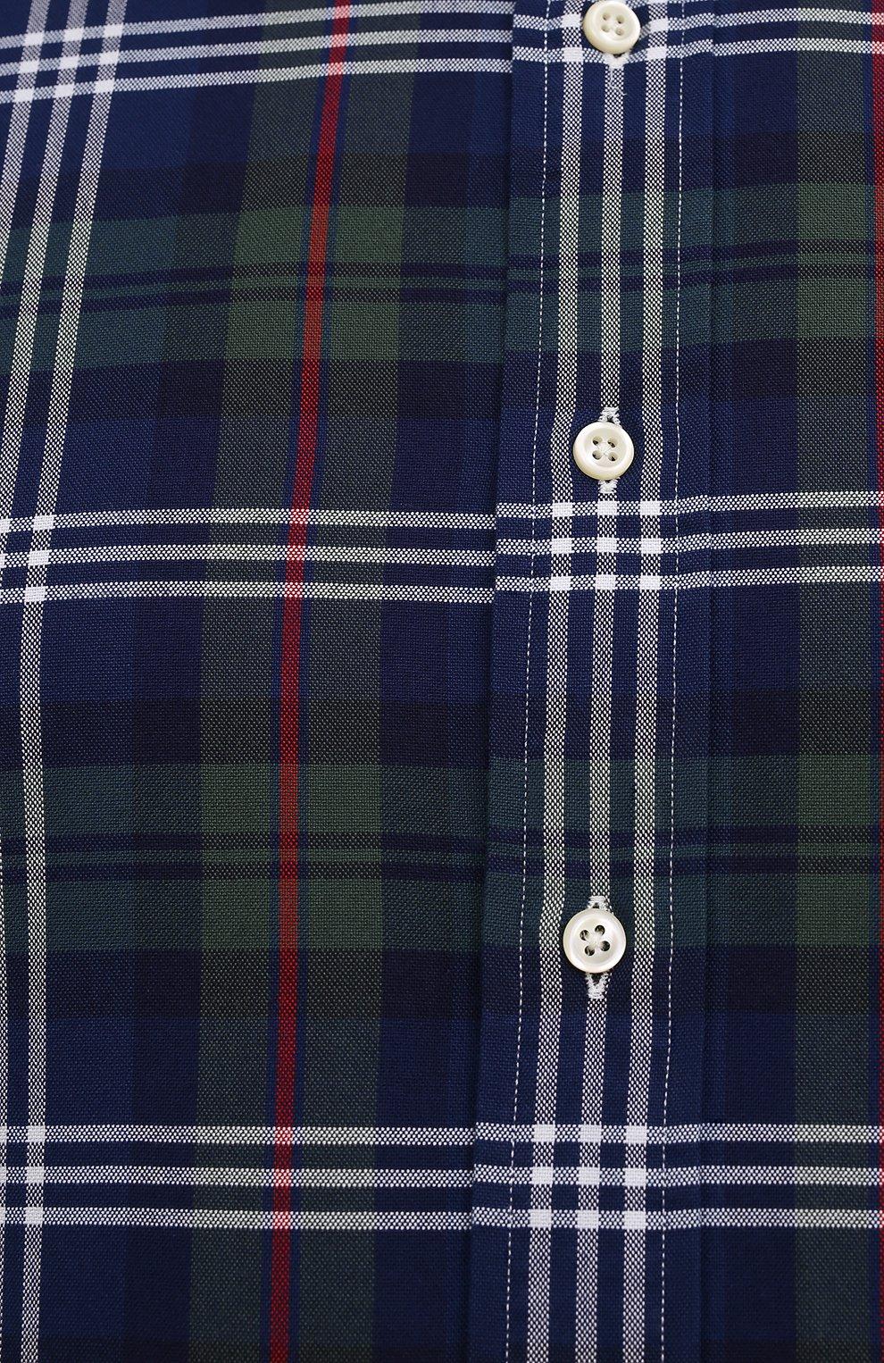 Мужская хлопковая рубашка POLO RALPH LAUREN разноцветного цвета, арт. 711847237/4127/PRL BS   Фото 5 (Манжеты: На пуговицах; Воротник: Button down; Big sizes: Big Sizes; Принт: Клетка; Рукава: Длинные; Случай: Повседневный; Длина (для топов): Удлиненные; Материал внешний: Хлопок; Стили: Кэжуэл)