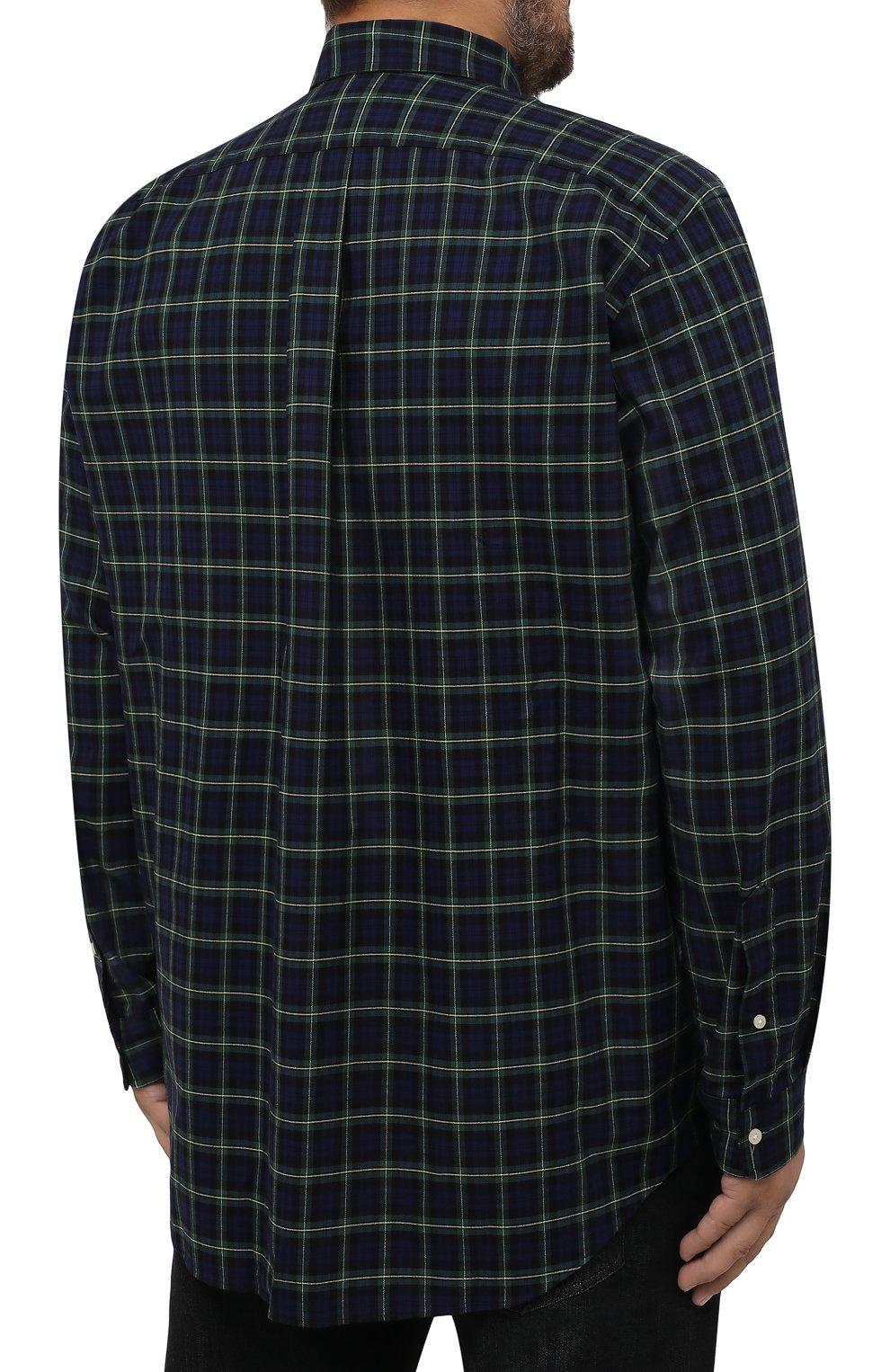 Мужская хлопковая рубашка POLO RALPH LAUREN синего цвета, арт. 711811288/4902/PRL BS | Фото 4 (Манжеты: На пуговицах; Воротник: Button down; Принт: Клетка; Рукава: Длинные; Случай: Повседневный; Длина (для топов): Удлиненные; Материал внешний: Хлопок; Стили: Кэжуэл)