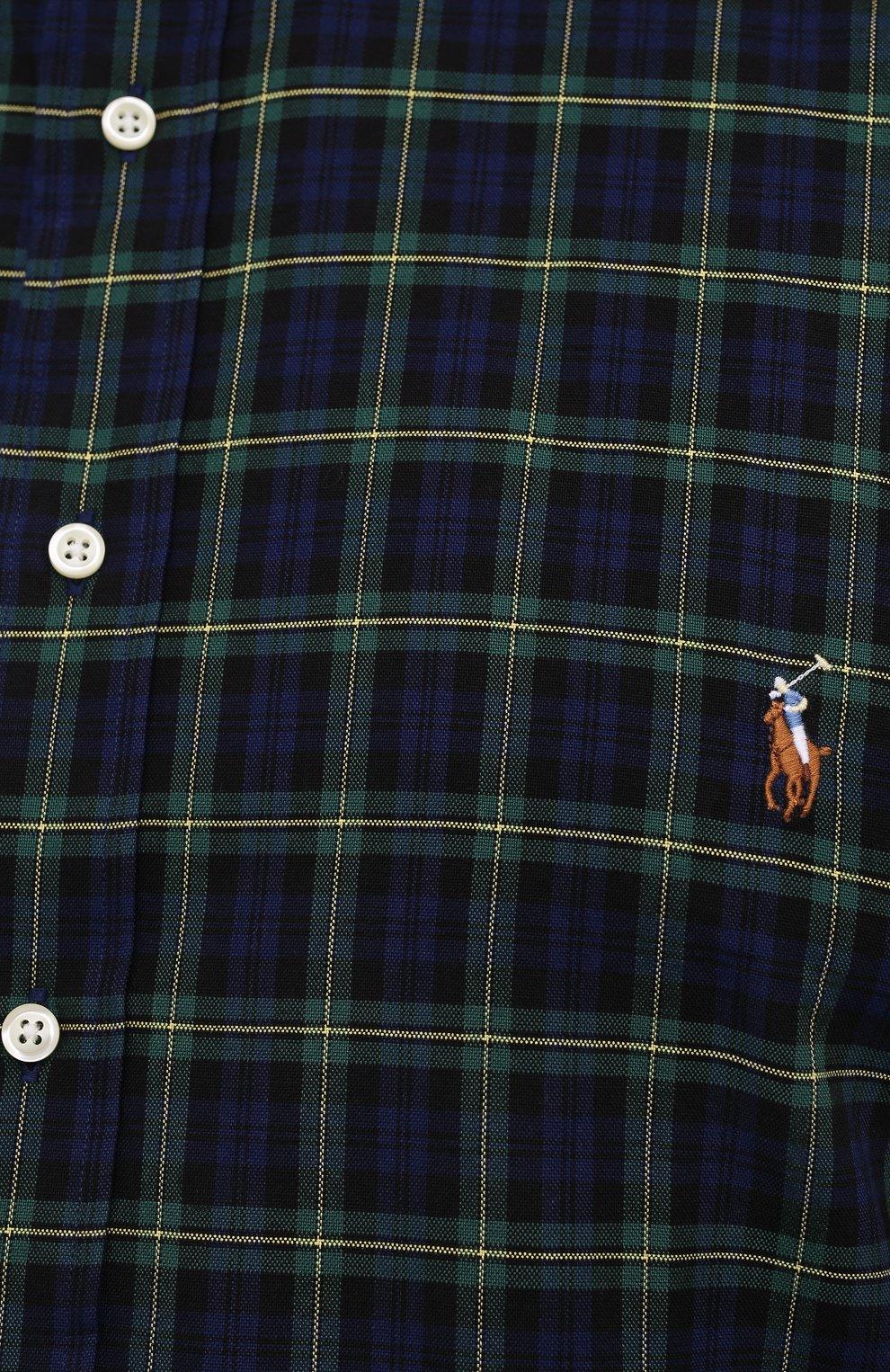 Мужская хлопковая рубашка POLO RALPH LAUREN синего цвета, арт. 711811288/4902/PRL BS | Фото 5 (Манжеты: На пуговицах; Воротник: Button down; Принт: Клетка; Рукава: Длинные; Случай: Повседневный; Длина (для топов): Удлиненные; Материал внешний: Хлопок; Стили: Кэжуэл)