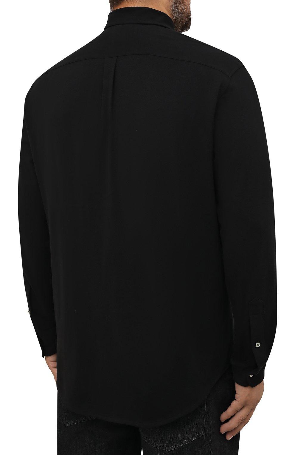 Мужская хлопковая рубашка POLO RALPH LAUREN черного цвета, арт. 711654408/PRL BS   Фото 4 (Манжеты: На пуговицах; Воротник: Button down; Рукава: Длинные; Случай: Повседневный; Длина (для топов): Стандартные; Материал внешний: Хлопок; Принт: Однотонные; Стили: Кэжуэл)