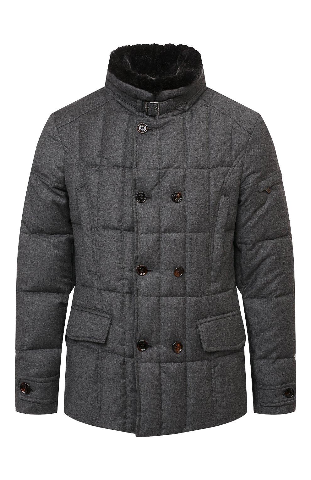 Мужская пуховая куртка с меховой отделкой siro-l MOORER серого цвета, арт. SIR0-L/M0UGI100276-TEPA217   Фото 1 (Кросс-КТ: Куртка; Мужское Кросс-КТ: пуховик-короткий; Материал внешний: Шерсть; Рукава: Длинные; Длина (верхняя одежда): До середины бедра; Стили: Классический; Материал подклада: Синтетический материал; Материал утеплителя: Пух и перо)