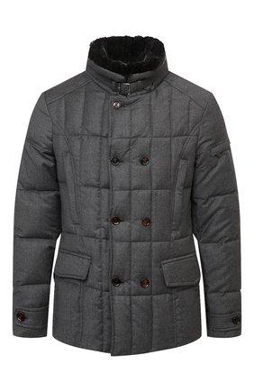 Мужская пуховая куртка с меховой отделкой siro-l MOORER серого цвета, арт. SIR0-L/M0UGI100276-TEPA217 | Фото 1