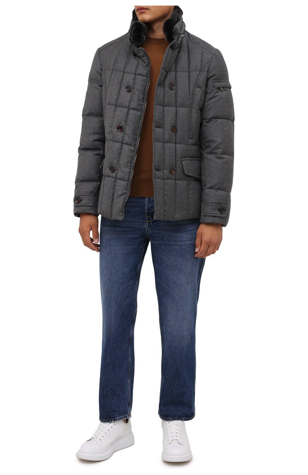 Мужская пуховая куртка с меховой отделкой siro-l MOORER серого цвета, арт. SIR0-L/M0UGI100276-TEPA217   Фото 2 (Кросс-КТ: Куртка; Мужское Кросс-КТ: пуховик-короткий; Материал внешний: Шерсть; Рукава: Длинные; Длина (верхняя одежда): До середины бедра; Стили: Классический; Материал подклада: Синтетический материал; Материал утеплителя: Пух и перо)