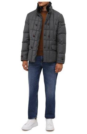 Мужская пуховая куртка с меховой отделкой siro-l MOORER серого цвета, арт. SIR0-L/M0UGI100276-TEPA217 | Фото 2