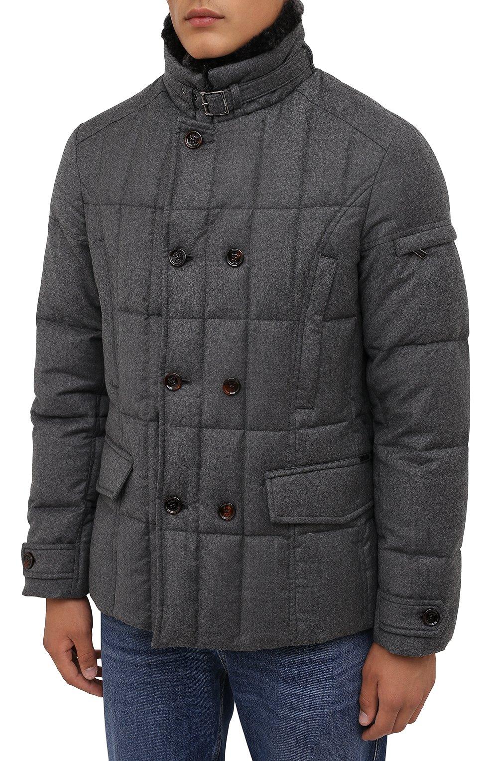 Мужская пуховая куртка с меховой отделкой siro-l MOORER серого цвета, арт. SIR0-L/M0UGI100276-TEPA217   Фото 3 (Кросс-КТ: Куртка; Мужское Кросс-КТ: пуховик-короткий; Материал внешний: Шерсть; Рукава: Длинные; Длина (верхняя одежда): До середины бедра; Стили: Классический; Материал подклада: Синтетический материал; Материал утеплителя: Пух и перо)