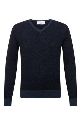 Мужской шерстяной пуловер GRAN SASSO синего цвета, арт. 57159/14228 | Фото 1 (Материал внешний: Шерсть; Рукава: Длинные; Мужское Кросс-КТ: Пуловеры; Вырез: V-образный; Принт: Без принта; Стили: Кэжуэл; Длина (для топов): Стандартные)