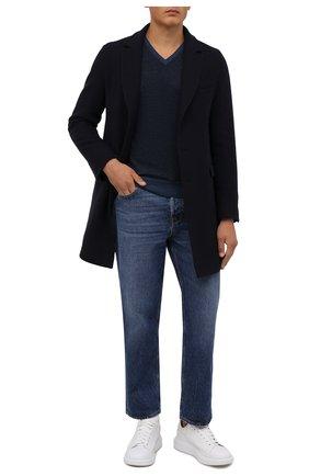 Мужской шерстяной пуловер GRAN SASSO синего цвета, арт. 57159/14228 | Фото 2 (Материал внешний: Шерсть; Рукава: Длинные; Мужское Кросс-КТ: Пуловеры; Вырез: V-образный; Принт: Без принта; Стили: Кэжуэл; Длина (для топов): Стандартные)